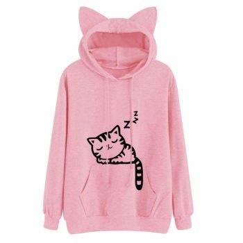 Women's Cat Printed Hoodie For Pet Lovers T-shirts & Sweatshirts
