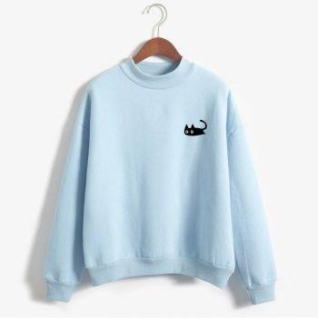 Kawaii Women's Sweatshirt with Black Cat Print For Pet Lovers T-shirts & Sweatshirts