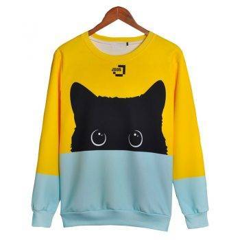 Women's 3D Cute Cat Printed Hoodie For Pet Lovers T-shirts & Sweatshirts