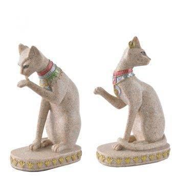 Sandstone Egyptian Cat Figurine For Pet Lovers Home Decor