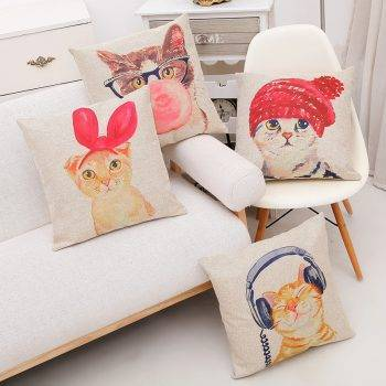 Cotton Cute Lovely Cat Design Decorative Cushion Cover For Pet Lovers Home Decor
