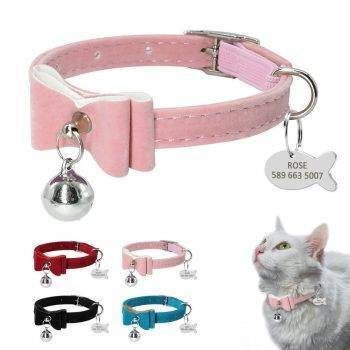Cat Collar with Bell and ID Tag in Shape Fish Cats Collars, Harnesses & Leashes