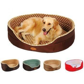 Dog's Soft Plush Bed with Polka Dot Pattern Beds Dogs