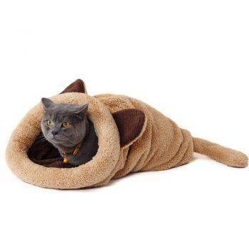 Cute Warm Animal Shaped Plush Cat Sleeping Bag Beds Cats Beige